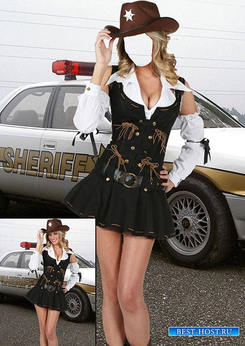 Женский фотошаблон - Девушка шериф