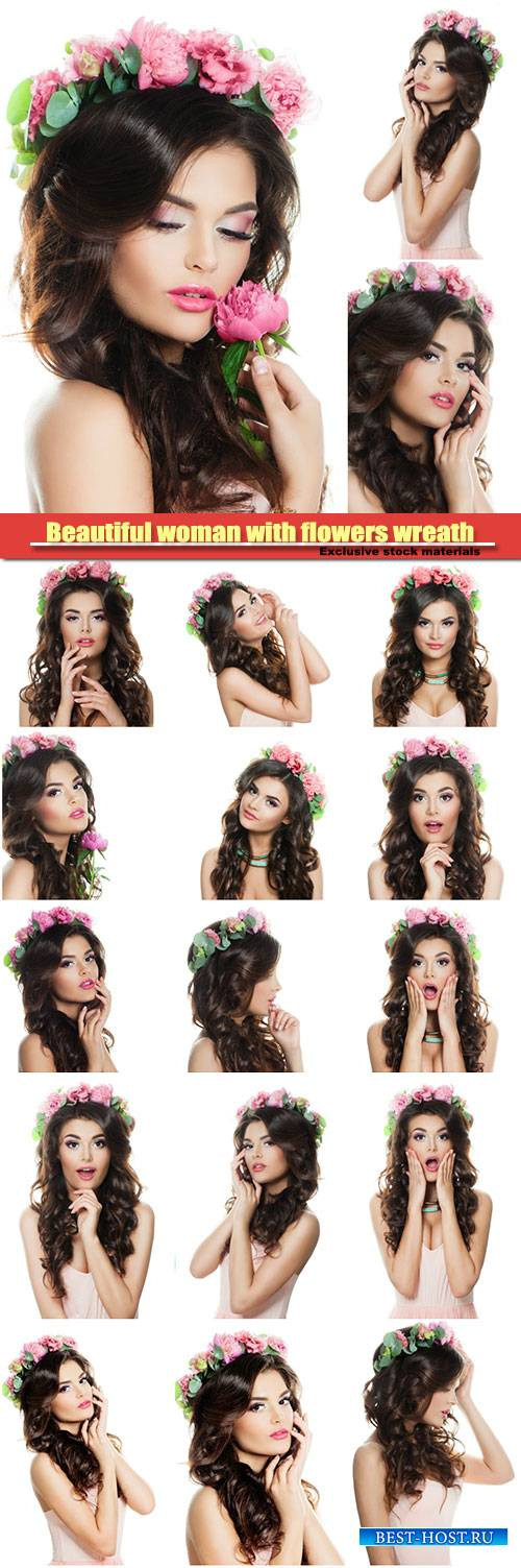 Beautiful woman with curly and flowers wreath