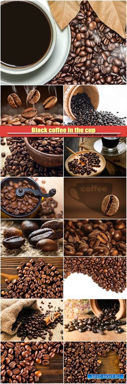 Black coffee in the cup and blur roasted coffee beans background