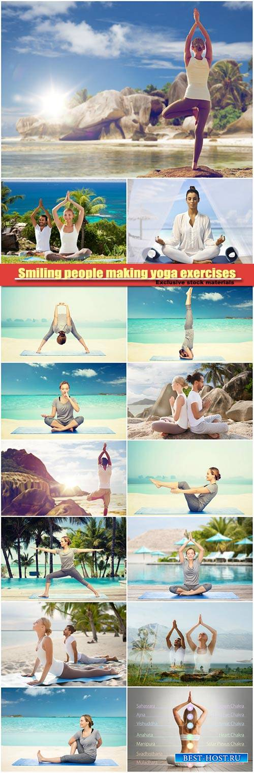 Smiling people making yoga exercises