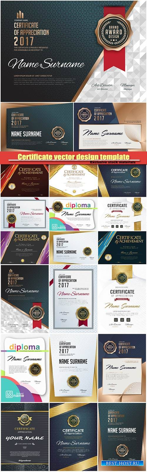 Certificate vector design stylish template