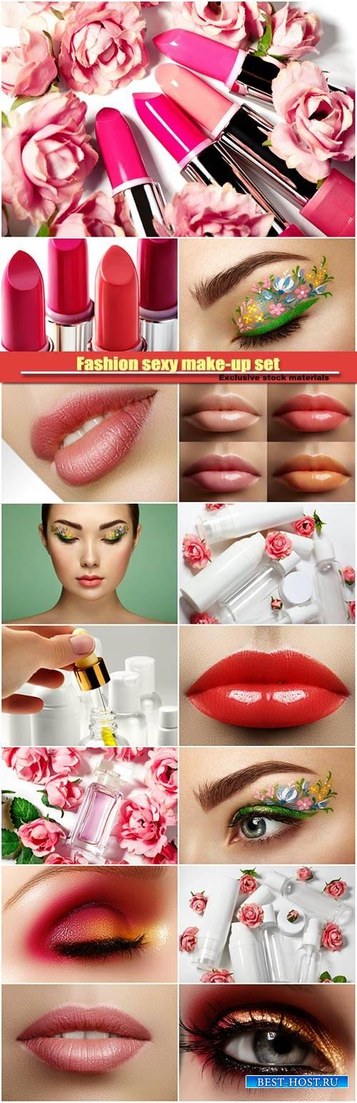 Fashion sexy make-up set, female plump lips, perfume bottle, female eye