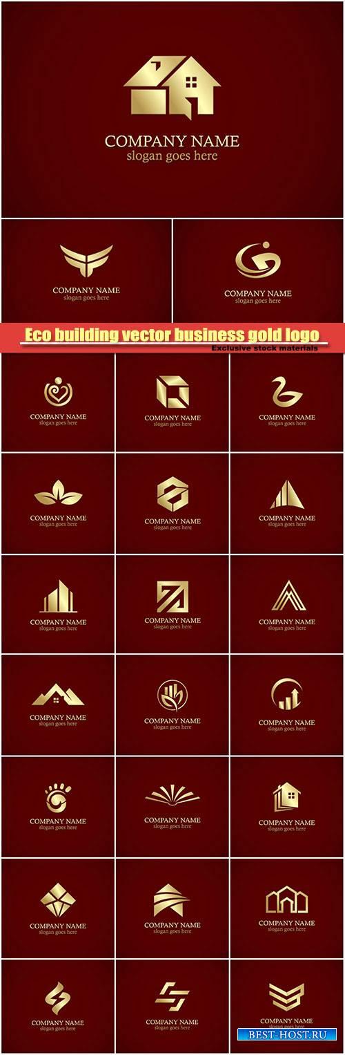 Eco building vector business gold logo