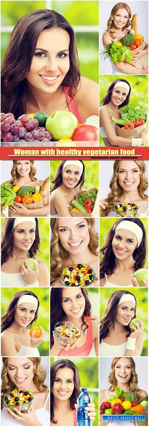 Woman with healthy vegetarian food