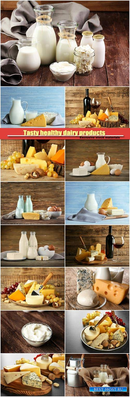 Tasty healthy dairy products , cheese and milk on wooden background
