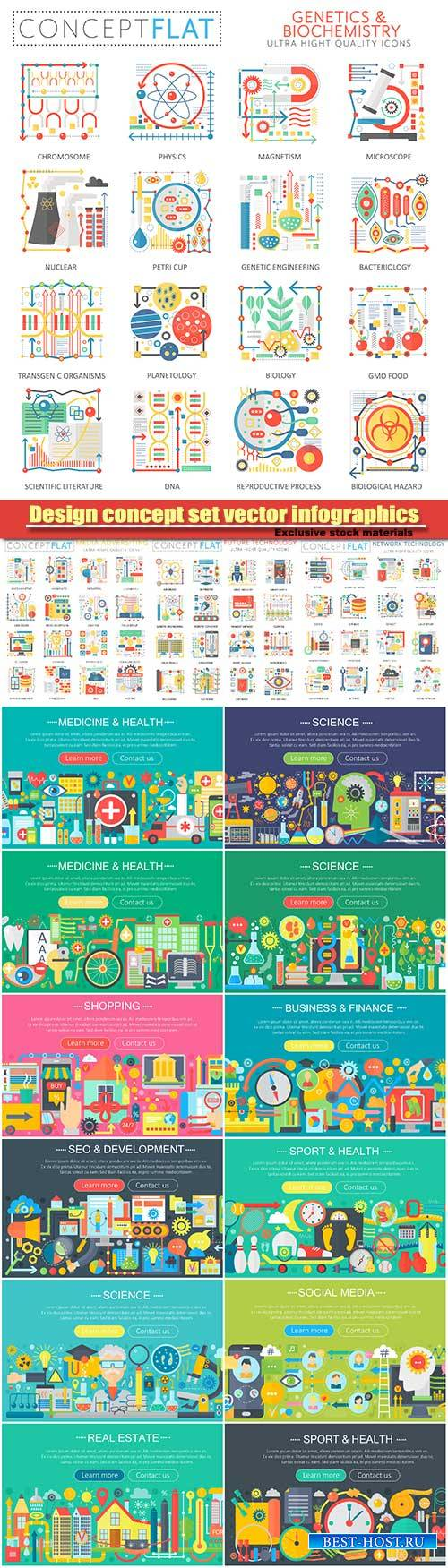 Medicine and health design concept set vector infographics, food and sport  ...