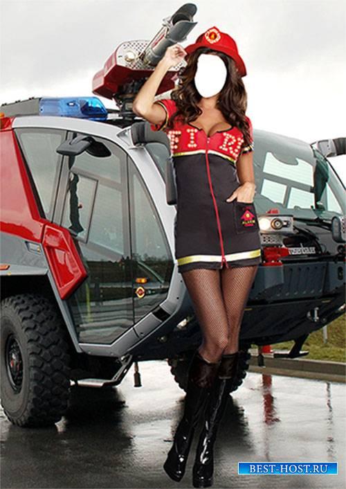 Женский фотошаблон - Пожарница