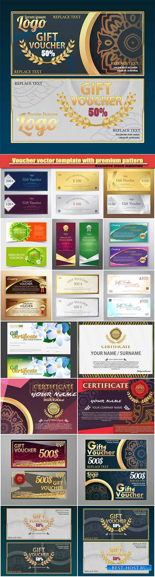 Voucher vector template with premium vintage pattern