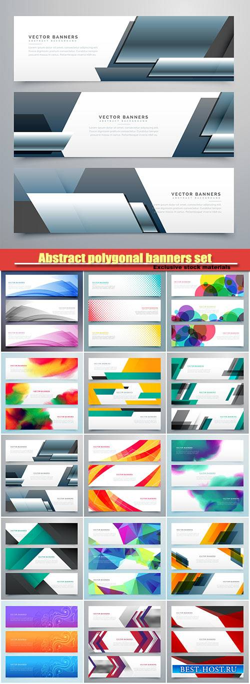 Abstract polygonal banners set with geometric shapes