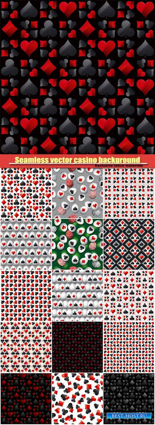Seamless vector casino gambling background with black and red poker symbols