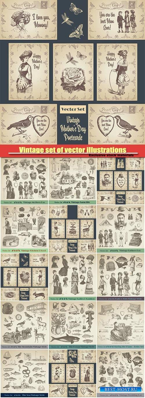 Vintage set of vector illustrations