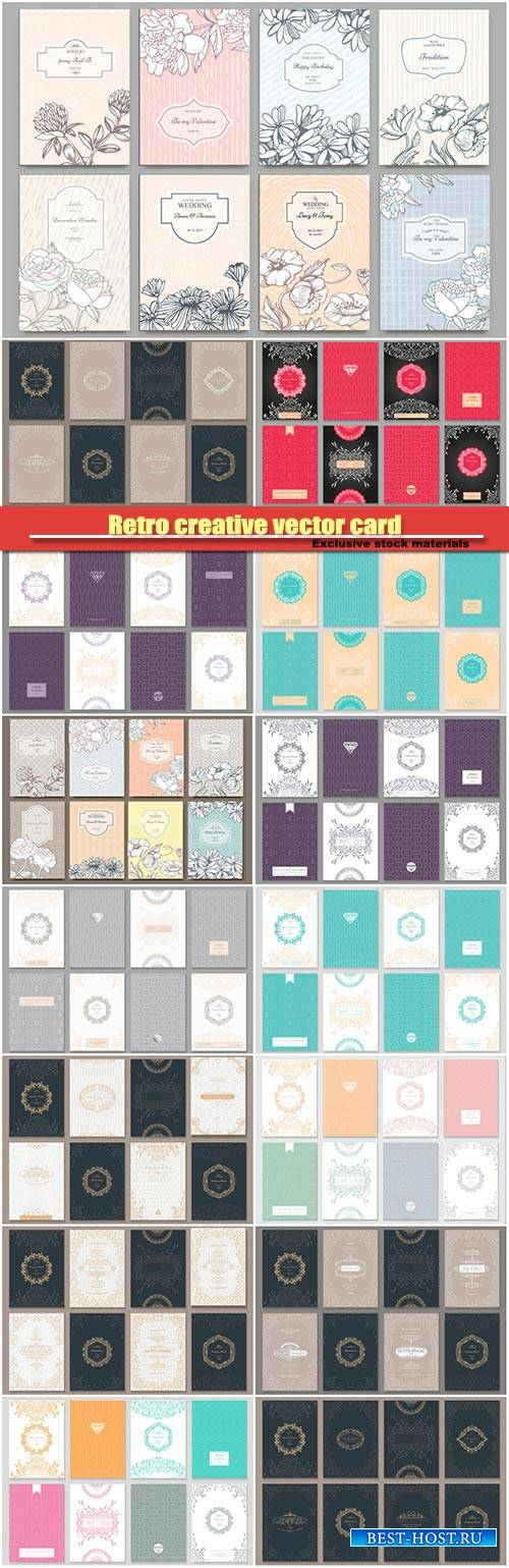 Retro creative vector card template, background for invitation, announcemen ...