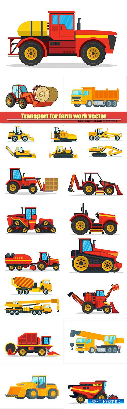 Transport for farm work vector