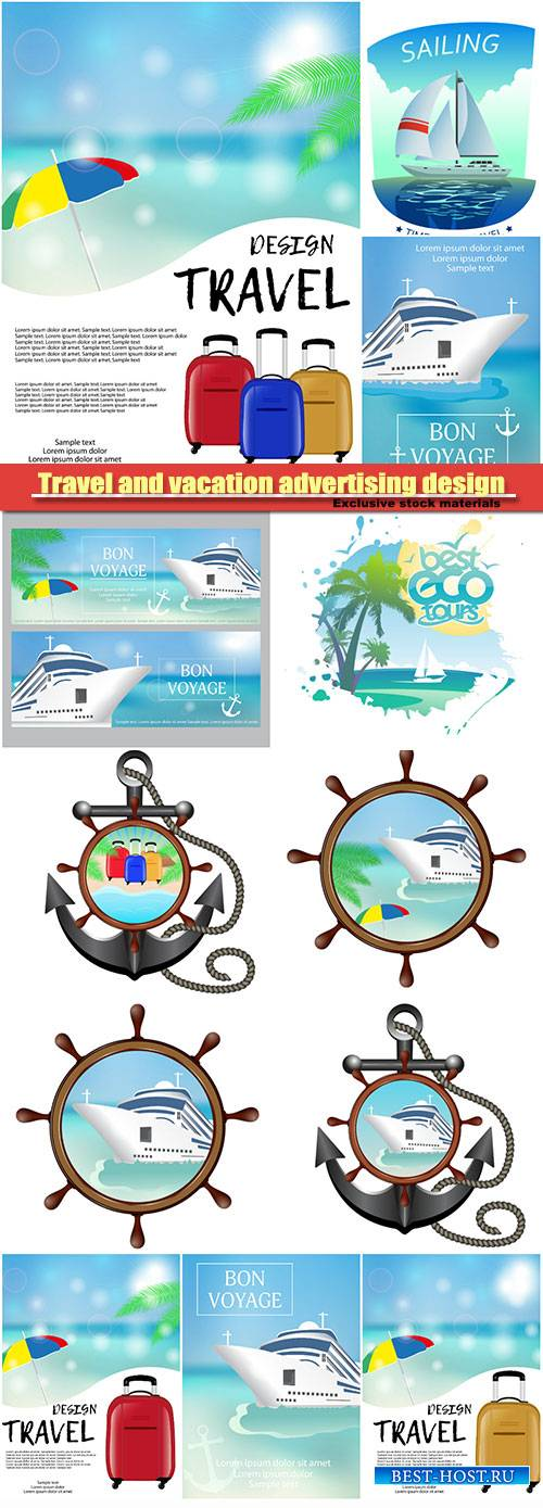 Travel and vacation advertising design vector template