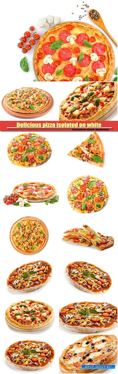 Delicious pizza isolated on white background
