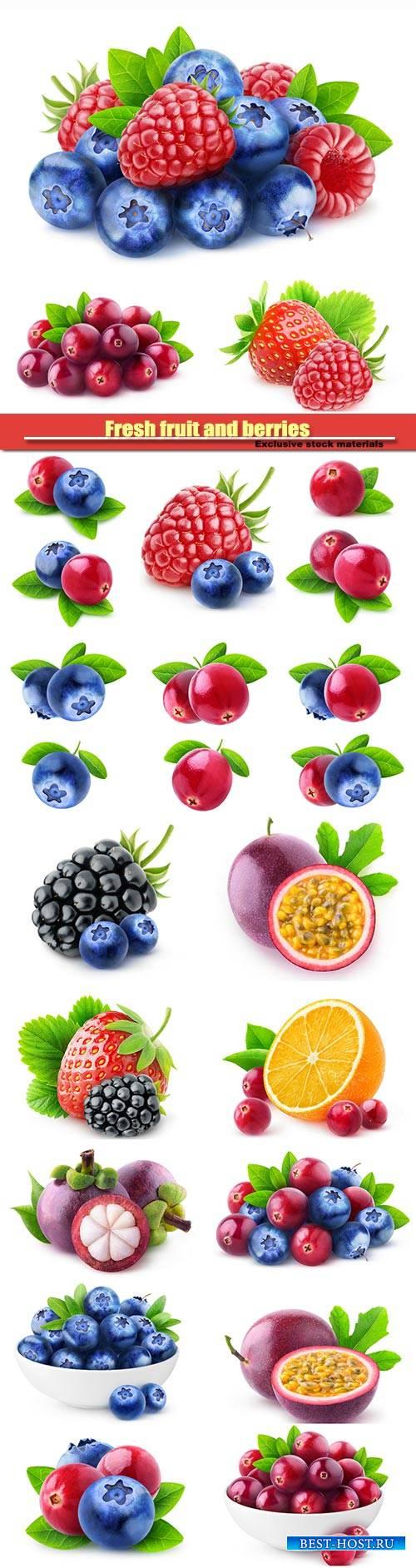 Fresh fruit and berries, blueberries and raspberries