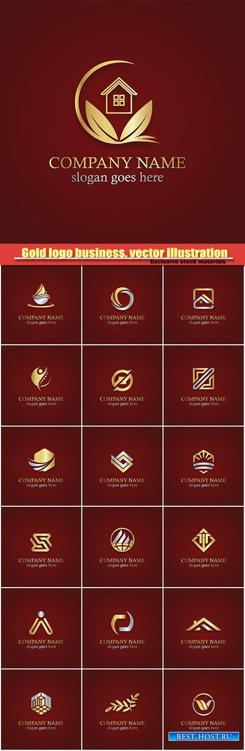 Gold logo business, vector illustration