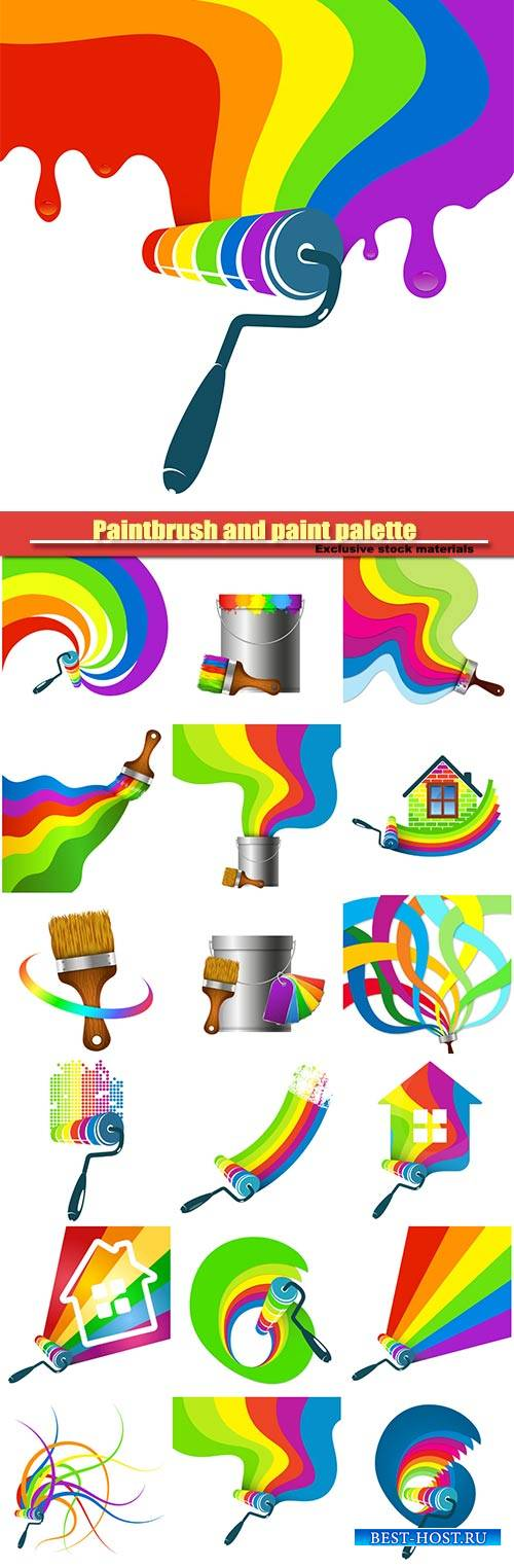 Roller for paint color, paintbrush and paint palette, symbol for business