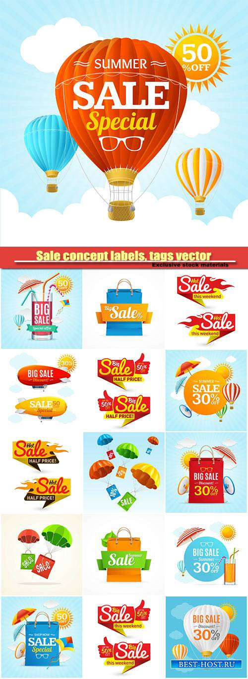 Sale concept labels, tags vector illustration