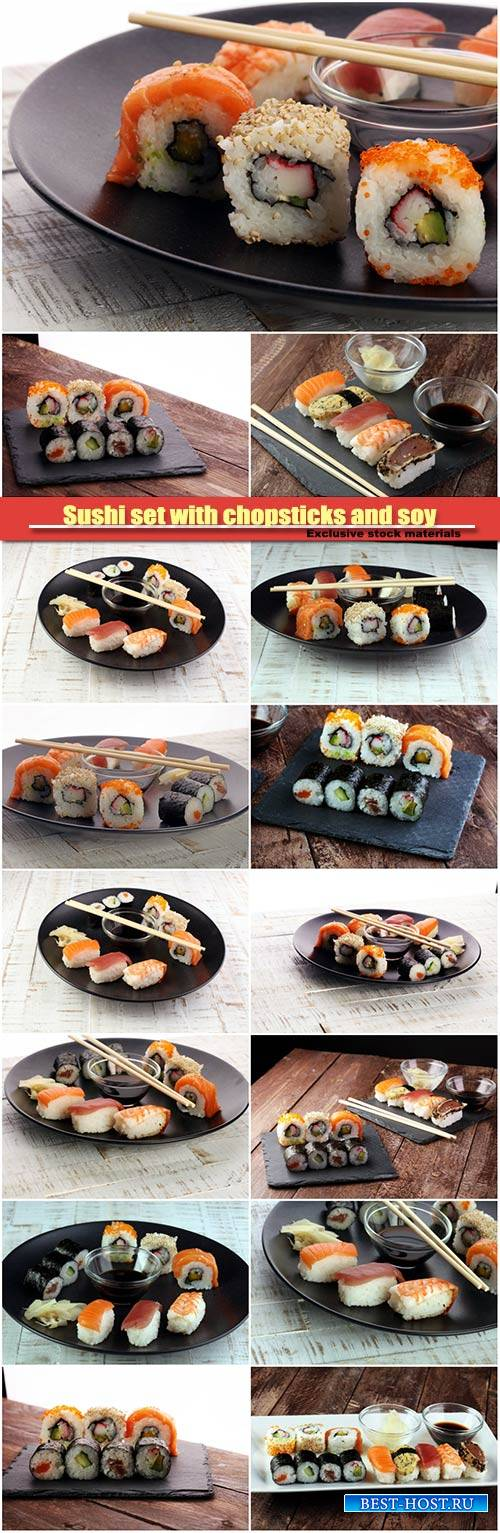 Sushi set with chopsticks and soy, sushi roll