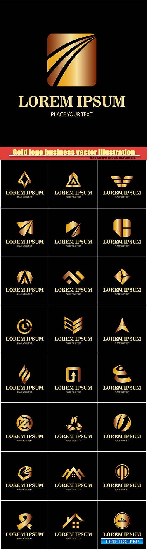 Gold logo business, vector illustration #4