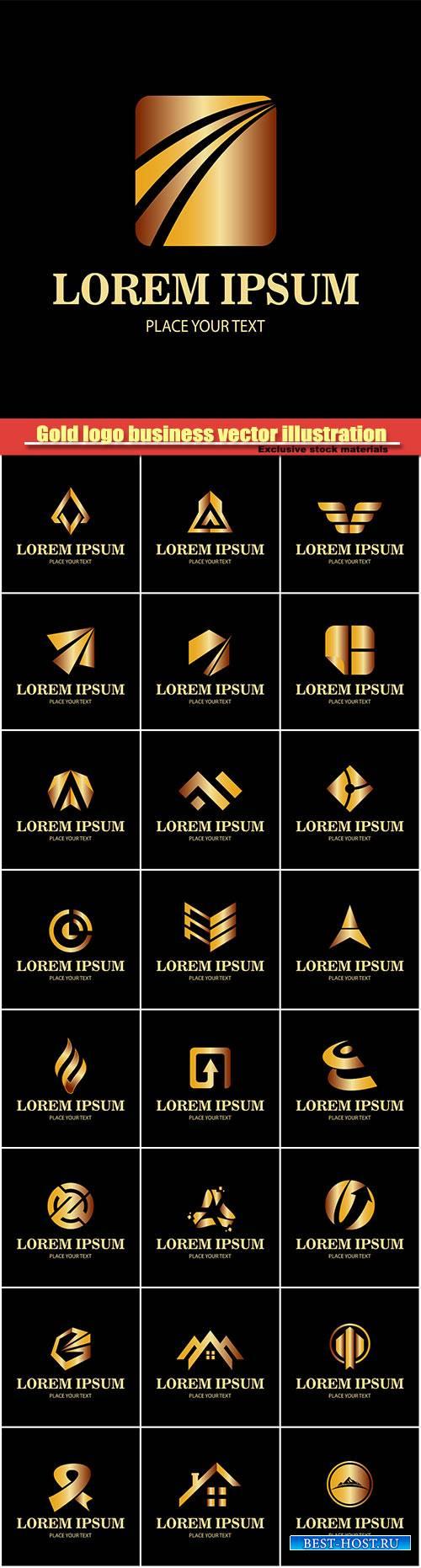 Gold logo business, vector illustration #4