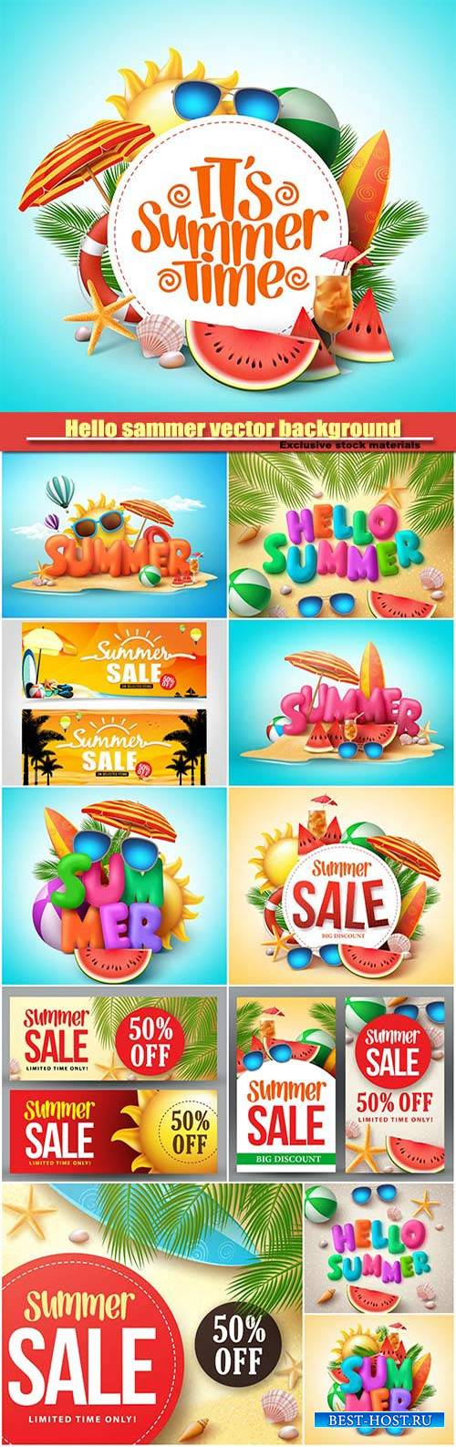 Hello summer vector background, sammer sale