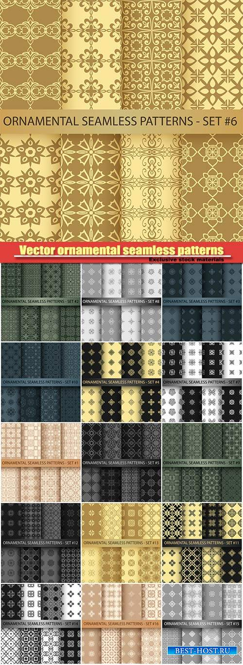 Vector ornamental seamless patterns set