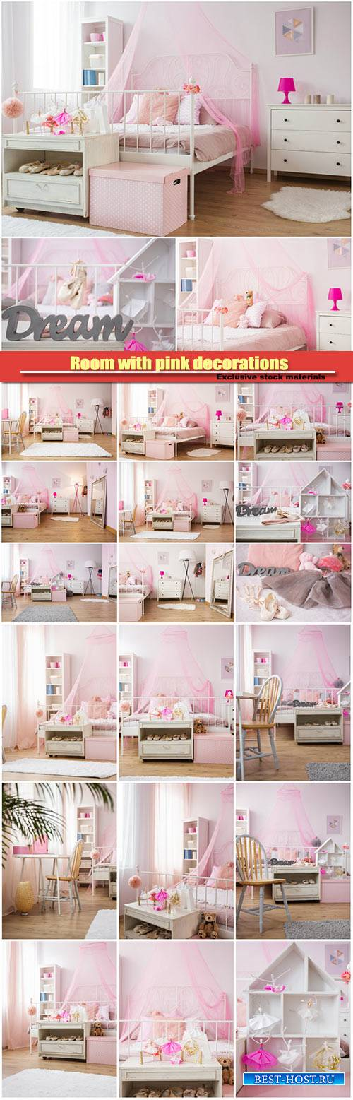 Children's room with pink interior decorations