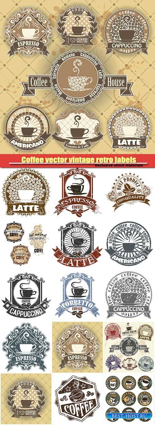 Coffee vector vintage retro labels