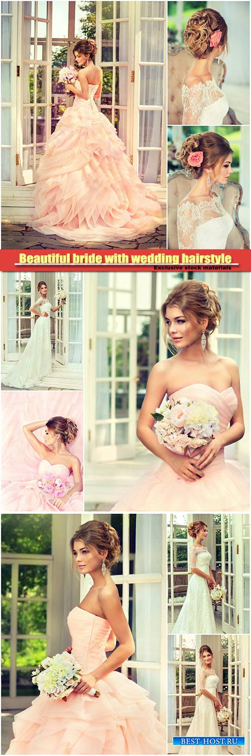 Beautiful bride with wedding hairstyle and roses in her hair