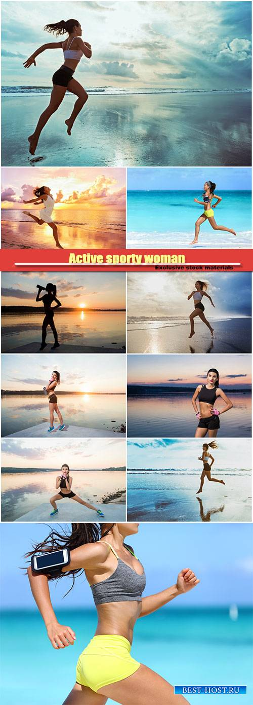 Active sporty woman run along sunset ocean beach