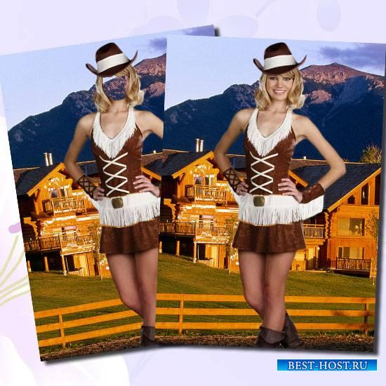 Фотошаблон - Девушка в костюме ковбоя