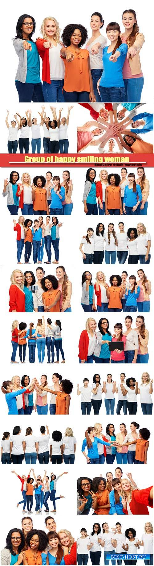 International group of happy smiling woman