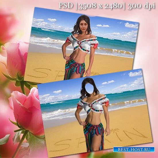 Женский фотошаблон - На пляже Испании