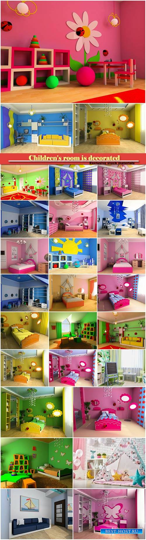 Children's room is decorated in pink, blue and green tones