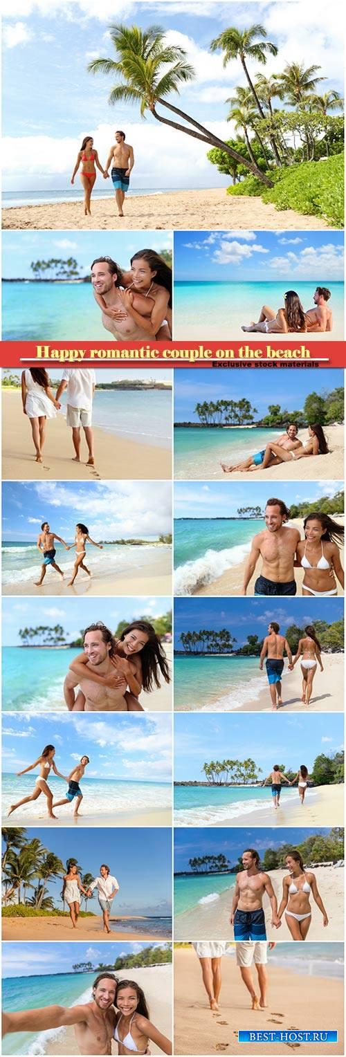 Happy romantic couple on the beach