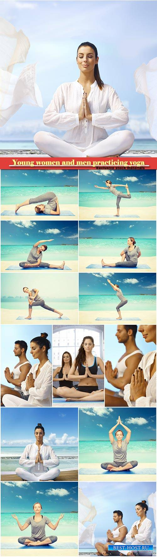 Young women and men practicing yoga