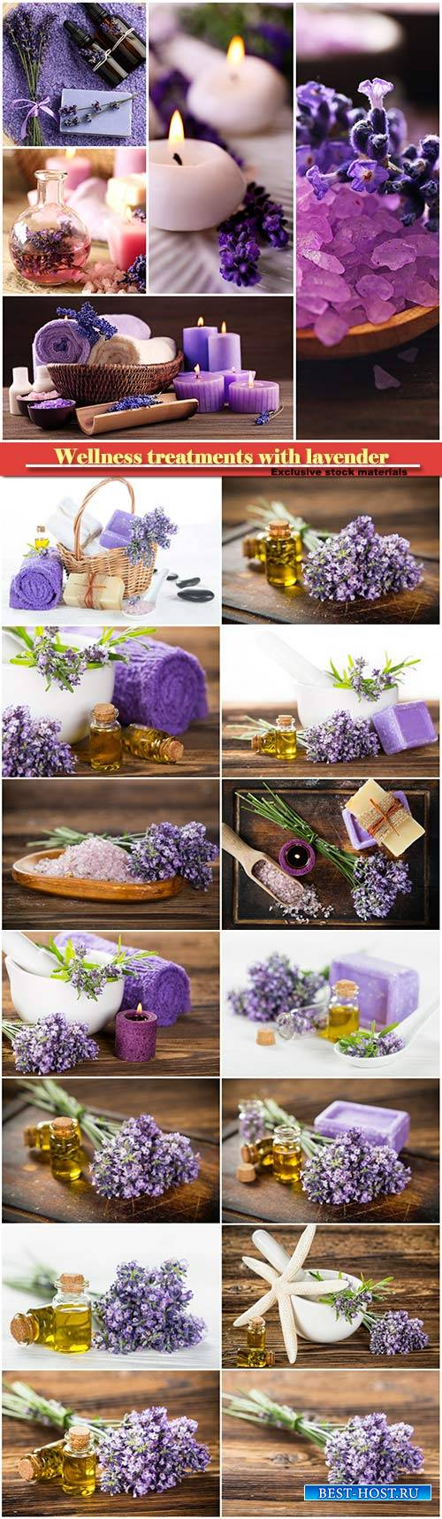 Wellness treatments with lavender flowers on wooden table, spa still-life