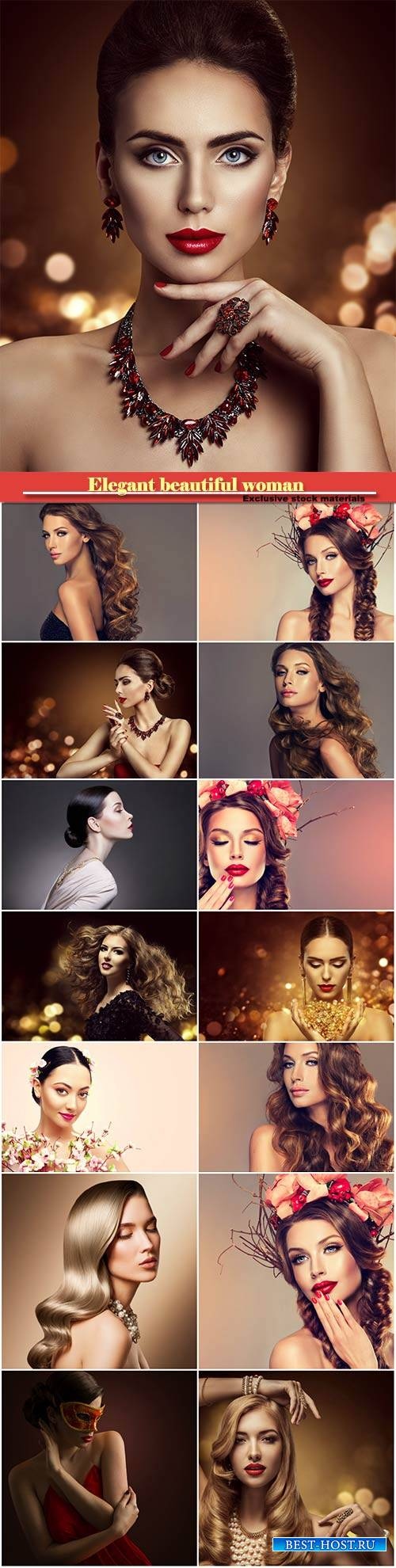 Elegant beautiful woman, fashion makeup