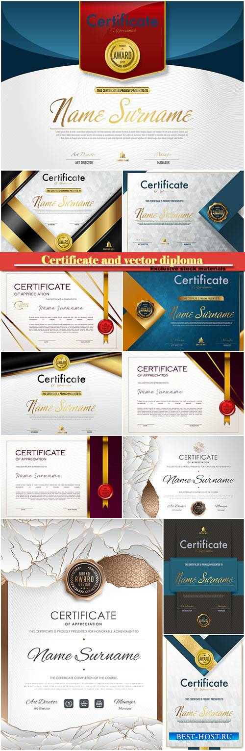 Certificate and vector diploma design template #10