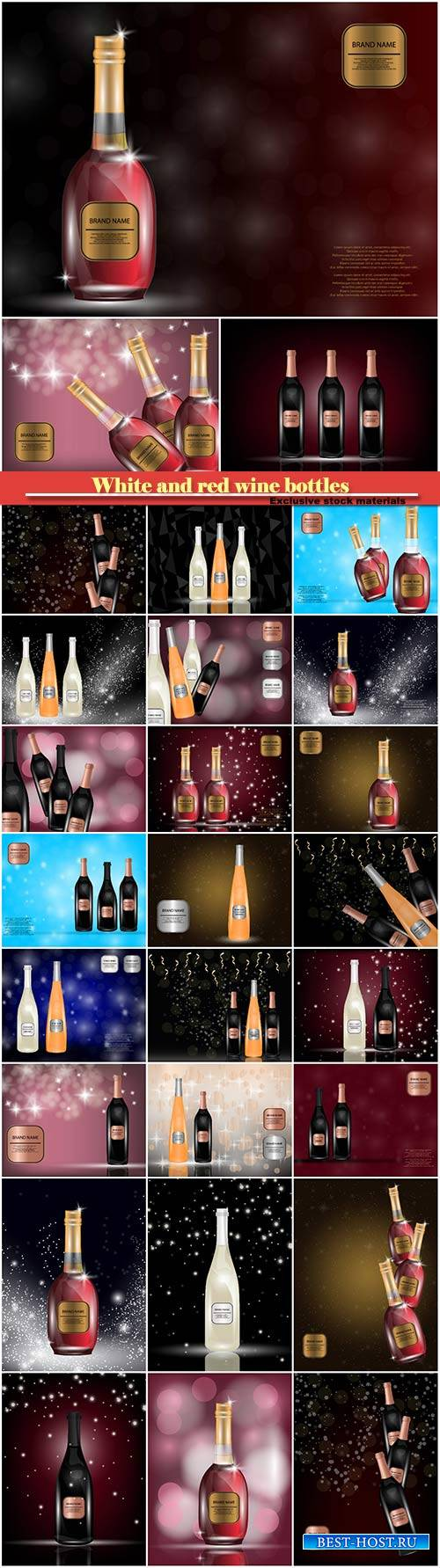 White and red wine bottles on the sparkling vector background