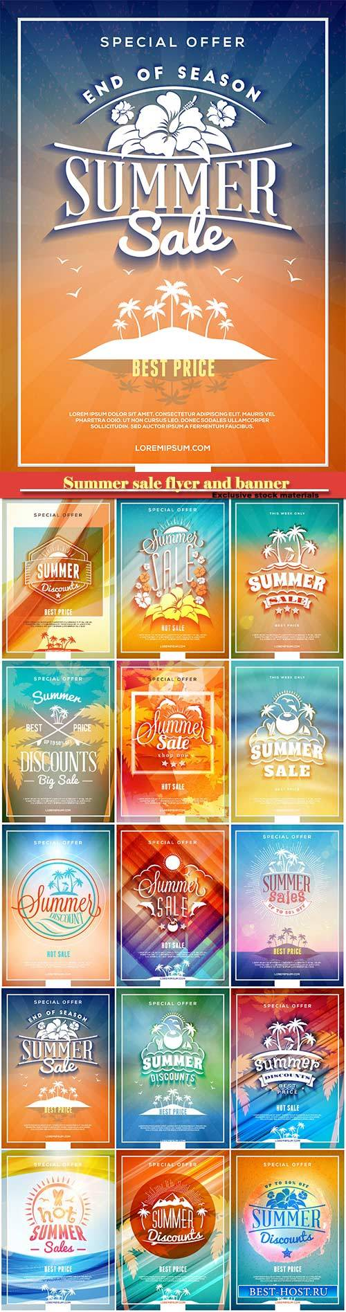 Summer sale flyer or banner vector design template