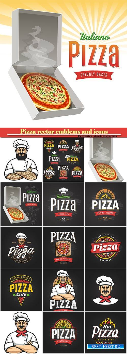 Pizza vector emblems and icons, pizzeria cafe, restaurant logo templates