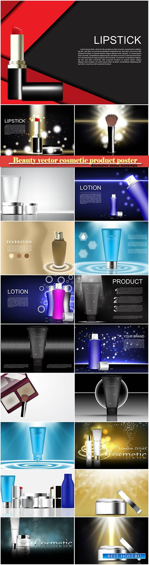 Beauty vector cosmetic product poster #3