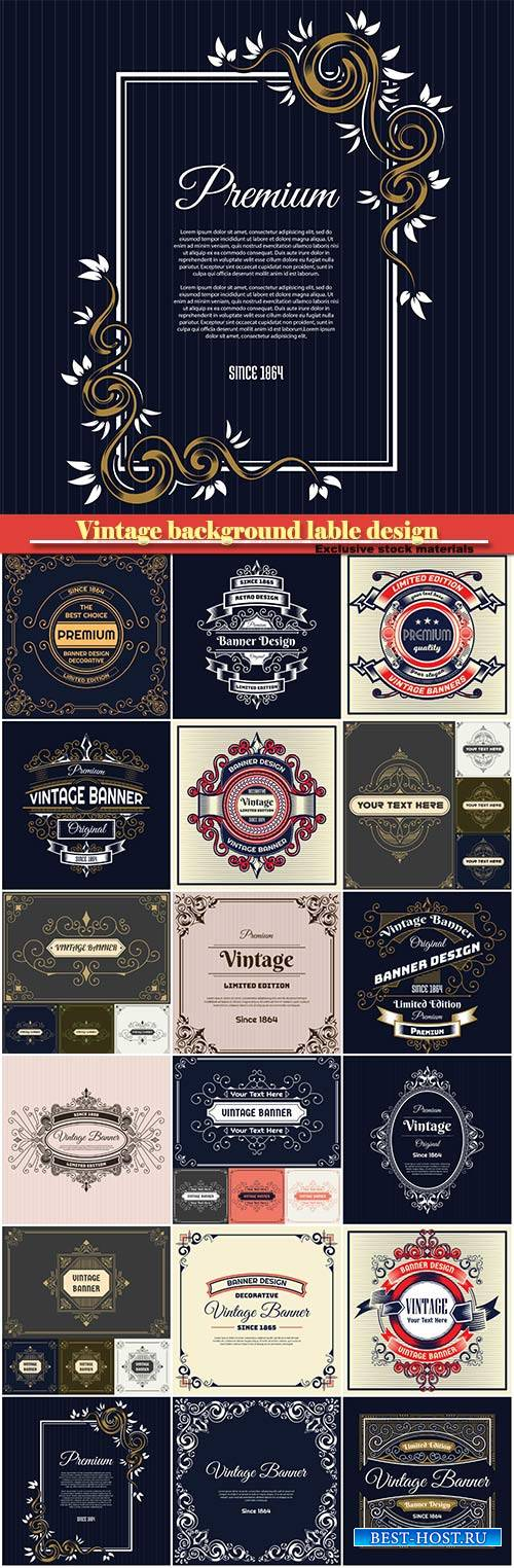 Vintage background label design template with decorative ornament