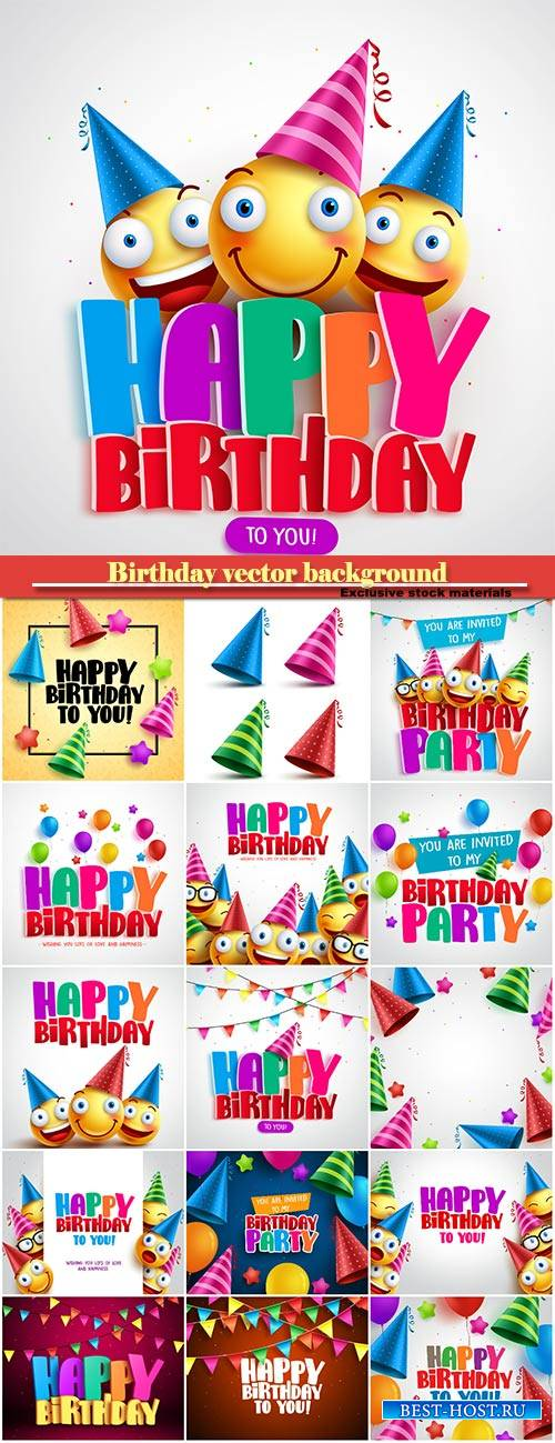Party decoration for birthday vector background