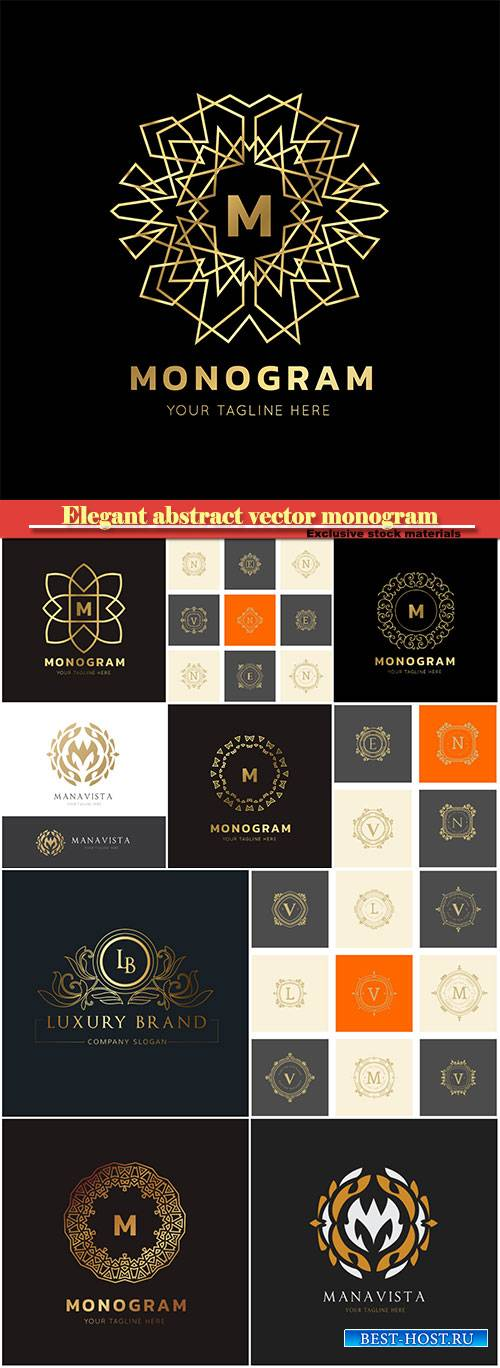 Elegant abstract vector monogram, logo design template