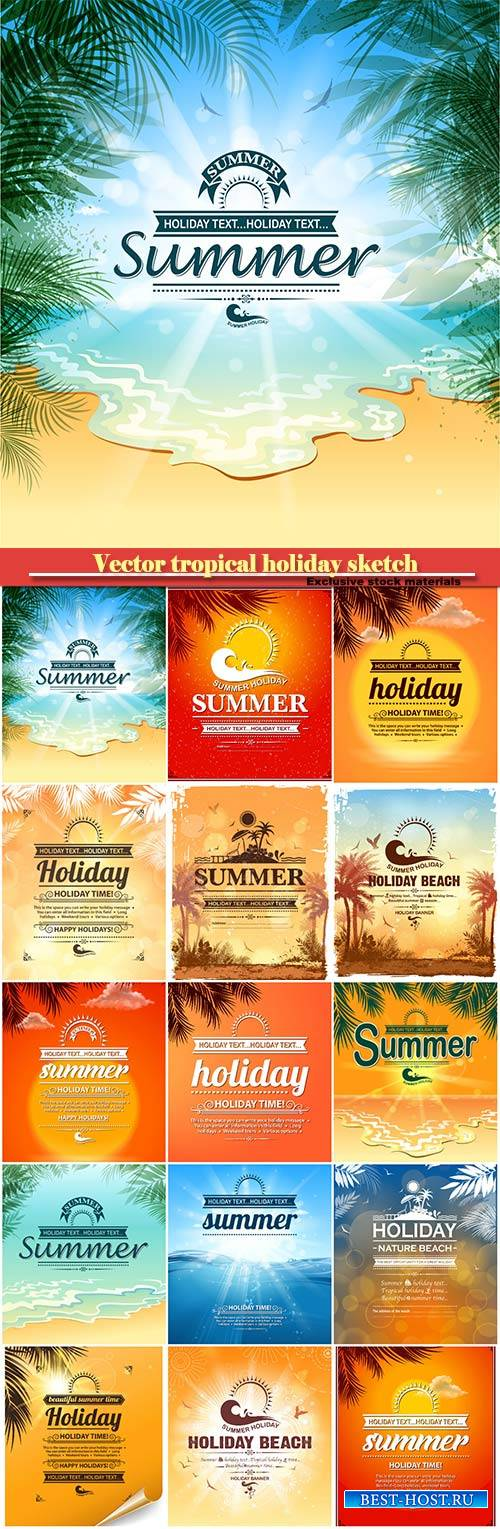 Vector tropical holiday sketch