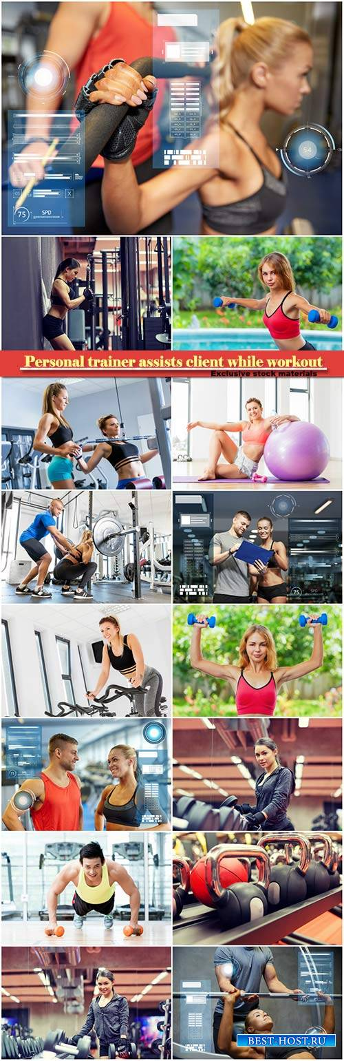 Personal trainer assists client while workout, fitness, sport